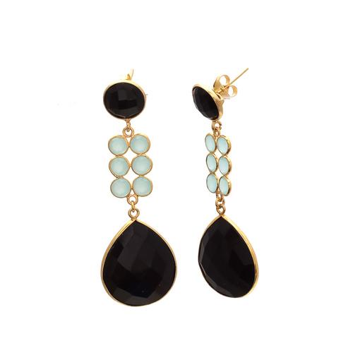 Black Onyx & Aqua Chalcedony Gemstone Earrings