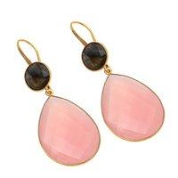 Peach & Black Chalcedony & Labradorite Gemstone earring