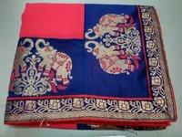 Chiffon Printed Lace Border Saree