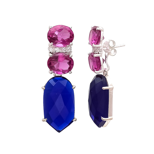 Blue Chalcedony Pink Tourmaline & White Cz Gemstone earrings