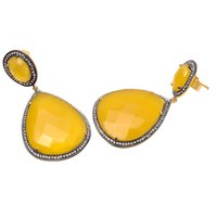 Yellow Chalcedony & White Cz Gemstone Earrings