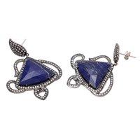 Lapis Lazuli & White Cz Gemstone earrings