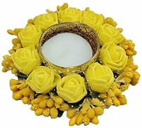 Brass 1 - Cup Tealight Holder Set (Yellow, Pack of 1)