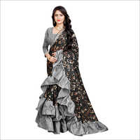 Ladies Black Ruffle Saree