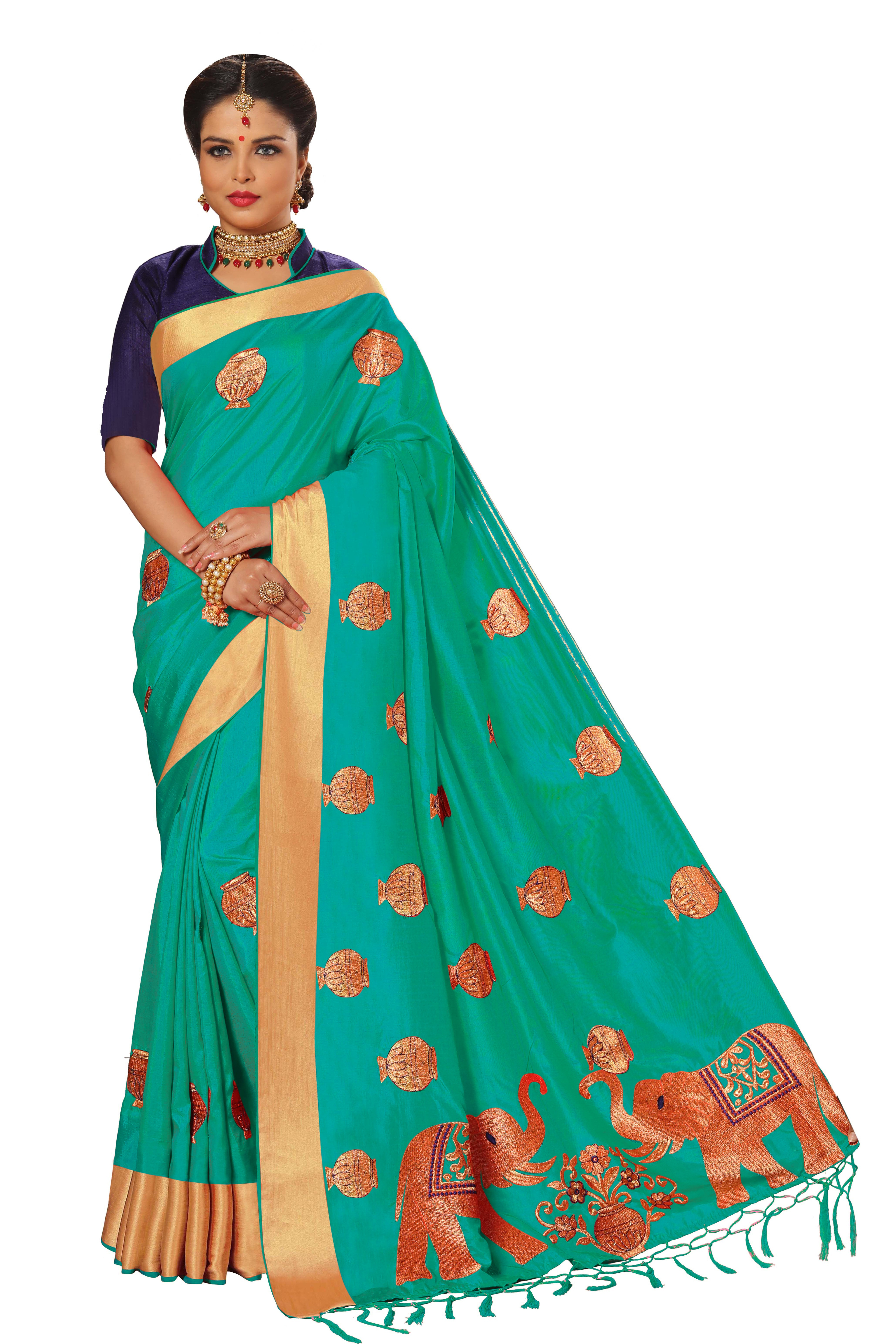 Kalamkari Embroidered Silk Saree collection