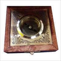 Wooden Box Brass Compass