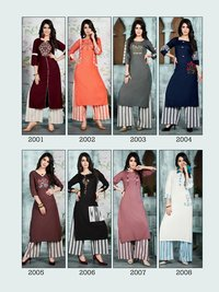 Rayon Kurtis with Cotton plazzo