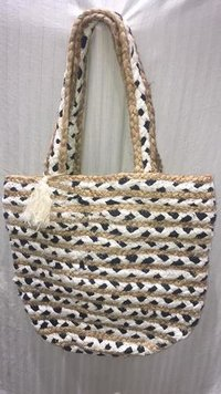 Handcrafted Jute Braided Bags With Hosiery Chindi