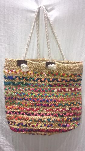 Handcrafted Jute And Chindi Braided Bags