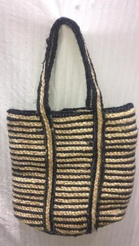 Handcrafted Jute And Chindi Braided Bags With Black Color