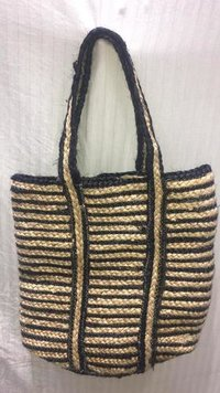 Handcrafted Jute and Chindi Braids Bags With Black Color