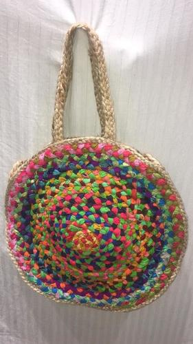 Handcrafted Jute Multi Chindi Braided Bags