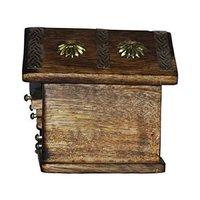 Wooden & Brass Antique Hut Shape Coaster Set Home Decor Gift Item