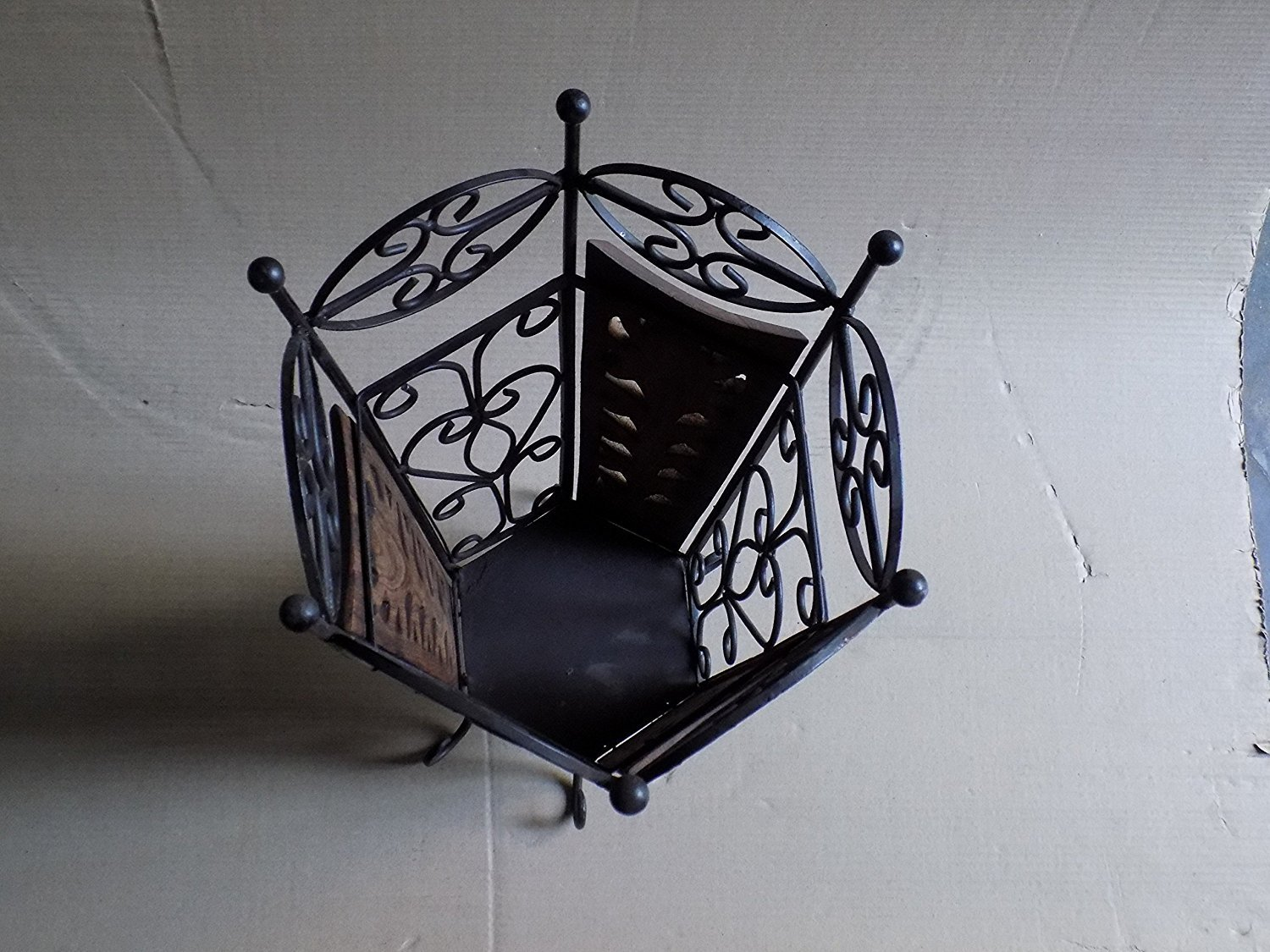 Wooden and Wrought Iron Umbrella Stand