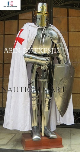 NAUTICALMART Knight Templar Suit of Armor Crusader Renaissance Armour Custom Halloween Cape, Sword, Shield, Chainmail