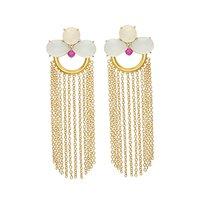 Milky Chalcedony & Pink Cz Gemstone earrings
