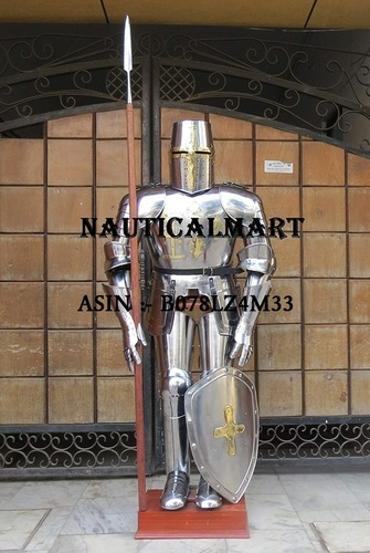 NAUTICALMART Medieval Knight Crusader Full Suit of Armour with Templar Shield and Free Wooden Stand