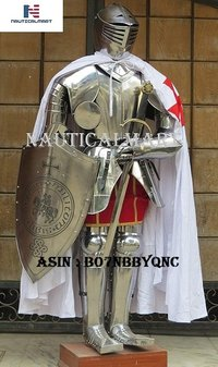 NauticalMart Medieval Knight Full Suit of Armor Battle Costume Cloak, Shield, Sword