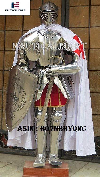 NauticalMart Medieval Knight Full Suit of Armor Battle Costume Cloak, Shield, Sword