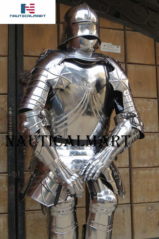 NauticalMart Medieval German Gothic Full Suit of Armor Wearable Steel Body Armor Halloween Costume