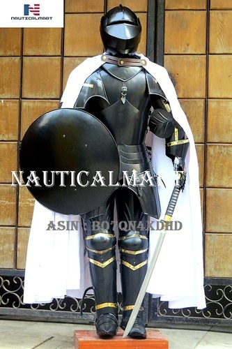 NauticalMart Medieval Knight Suit of Armor Sword, Shield, Cloak Combat Blackened Body Armour Replica