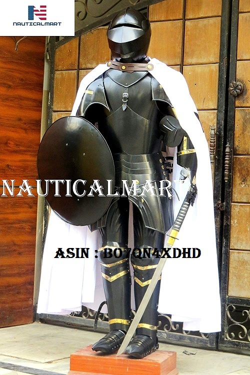 NauticalMart Medieval Knight Suit of Armor Sword, Shield, Cloak Combat Blackened Body Armour Replica