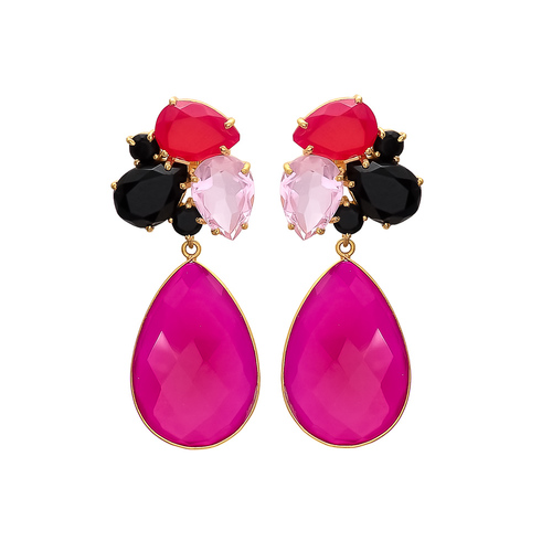 Fuchsia Rose & Black Onyx Gemstone Earrings