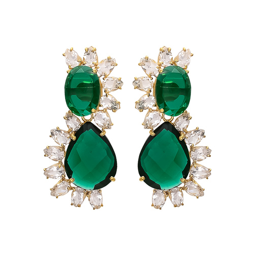 Emerald Hydro & Crystal Gemstone Earrings
