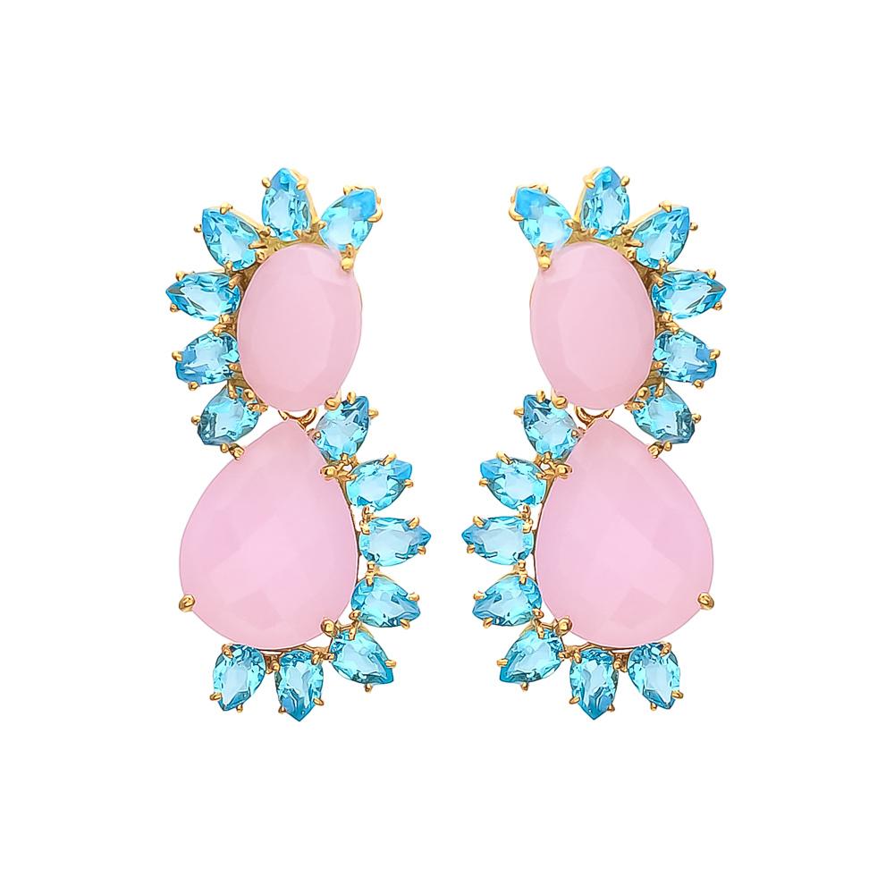 Emerald Hydro & Crystal Gemstone Earrings