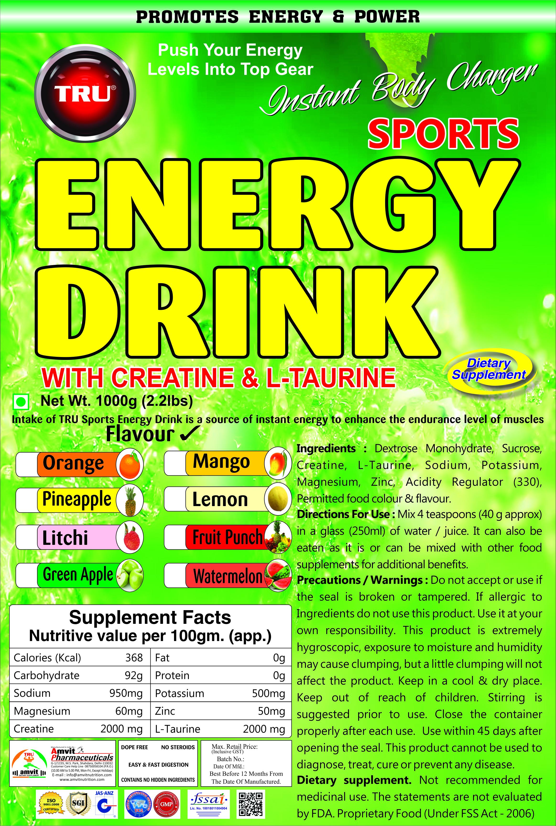 TRU ENERGY DRINK WITH CREATINE AND TAURINE