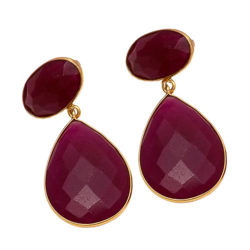 Dyed Ruby Hydro Gemstone Earrings