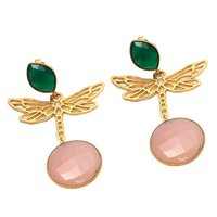 Pink Chalcedony & Green Onyx Gemstone Earrings