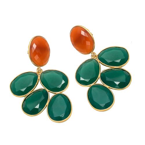 Green Onyx & Carnelian Gemstone Earrings