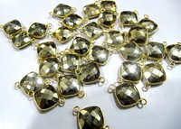 Natural pyrite double loop briolette connector Cushion shape size 11mm gold plated.