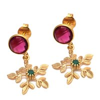 Pink Tourmaline & Green Cz Gemstone earring