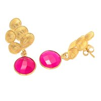Fuchsia Chalcedony Gemstone Earrings
