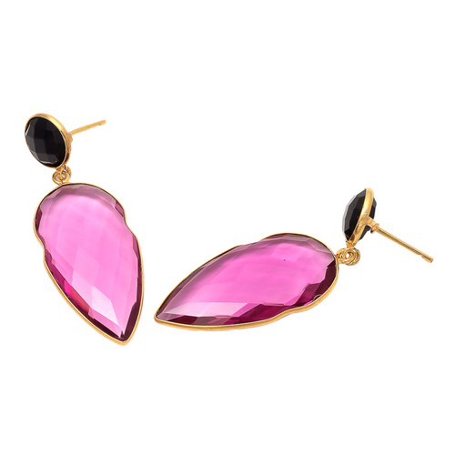 Pink Tourmaline & Black Onyx Gemstone earring