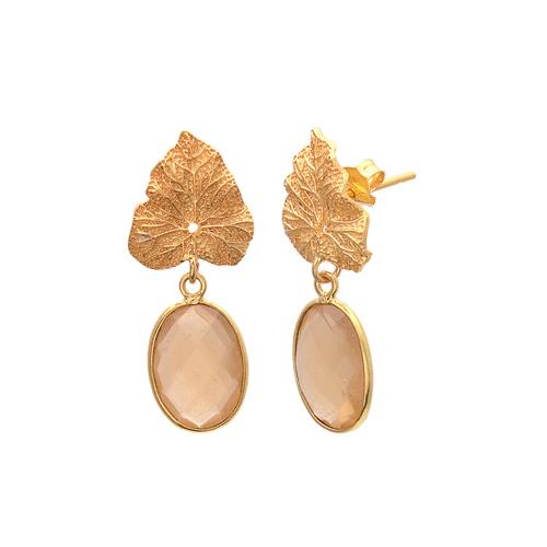 Peach Chalcedony Gemstone Earrings