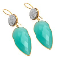 Aqua Chalcedony & Silver Druzy Gemstone Earrings