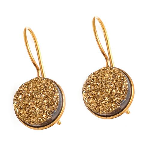 Gold Druzy Gemstone Earrings