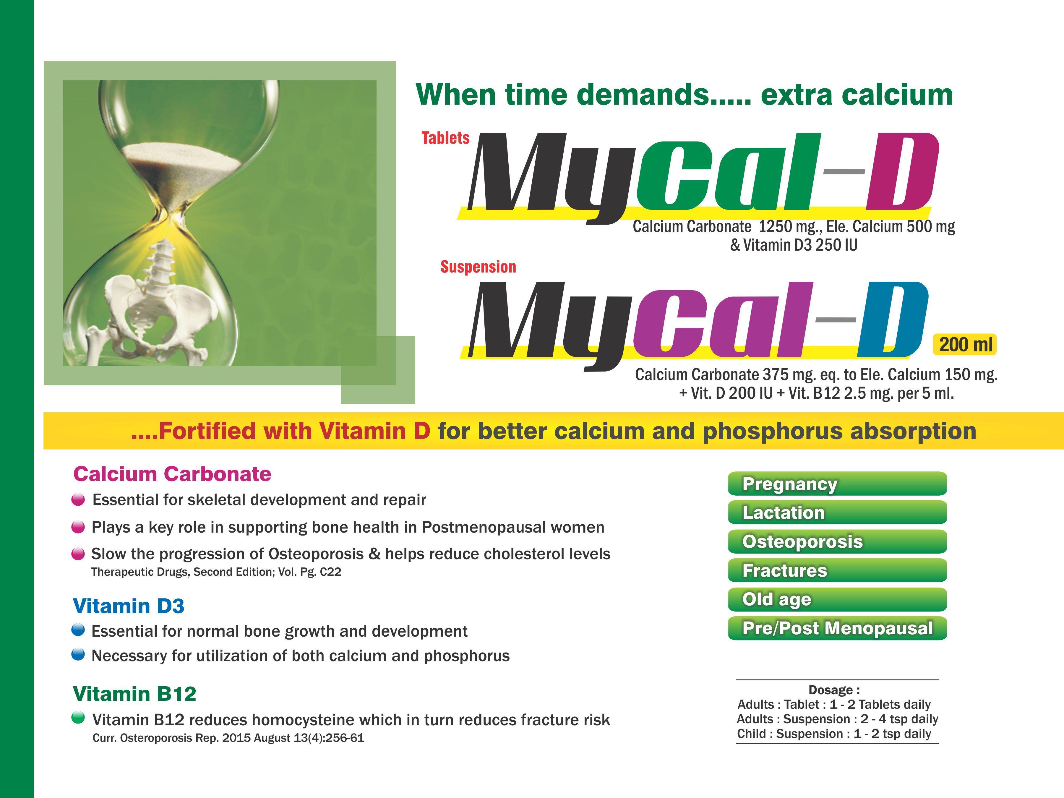 Calcium Carbonate 1250 Mg Eq. to Elemental Calcium 500 Mg & Vitamin D3 200 I.U. Tablet