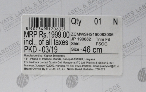 Commercial Barcode Sticker
