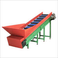 Inclined Cleated Food Grade Link Chain Conveyor with Hopper
