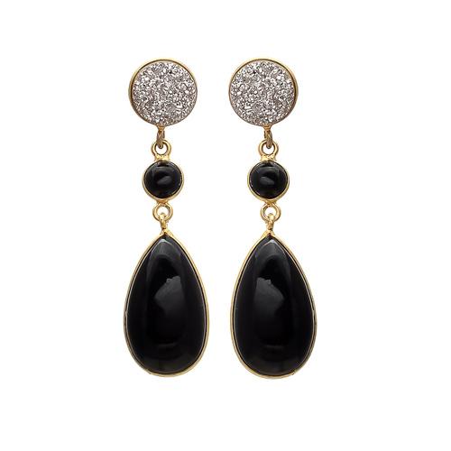 Green Onyx & Silver Druzy Gemstone Earrings