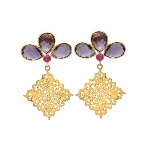 Amethyst Hydro & Pink Cz Gemstone Earrings