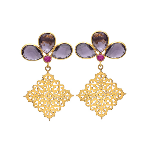 Amethyst Hydro & Pink Cz Gemstone Earrings