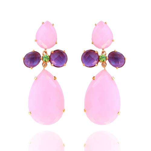 Rose Chalcedony Amethyst & Green Cz Gemstone Earrings