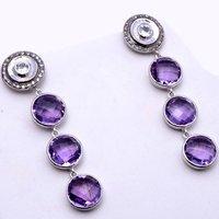 Amethyst & White Cz Gemstone Earrings