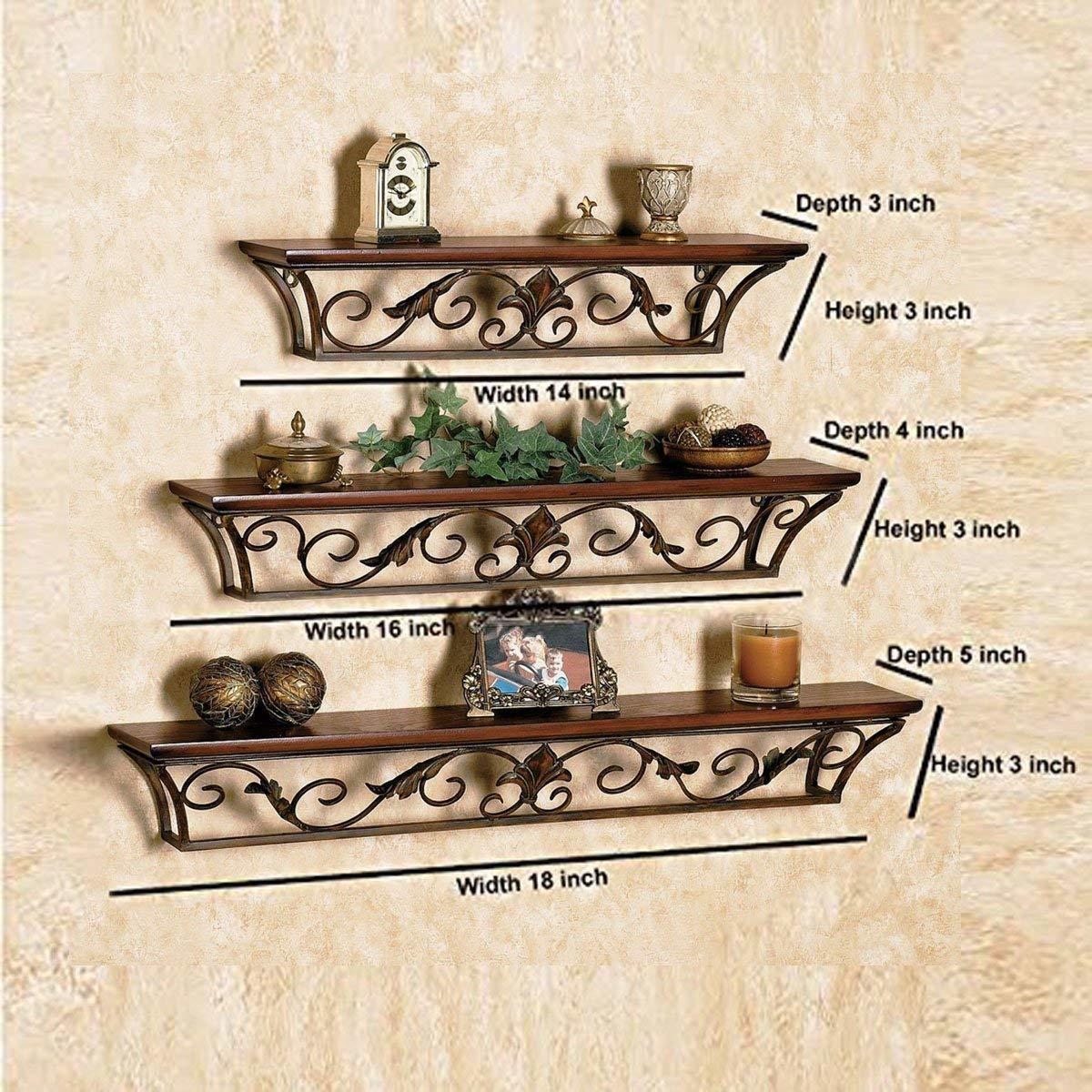 Wooden Iron Wall Shelf Wall Bracket Floating Wall Shelves Set of 3