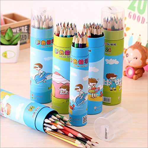 24Pcs Color Pencils with Container